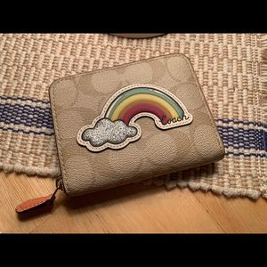 Coach Signature small zip rainbow wallet NWT